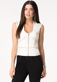 bebe Danica Studded Leather Vest