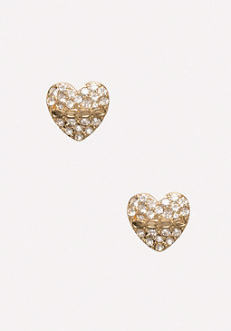 bebe Rhinestone Heart Earrings