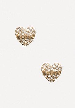 bebe Rhinestone Heart Earrings
