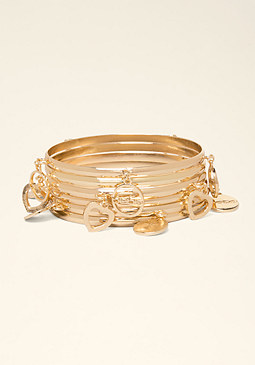 Logo Charm Bangle Set at bebe