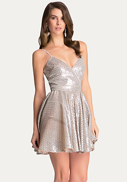Petite Flared Sequin Dress at bebe