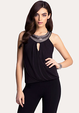 bebe Embellished Foldover Top