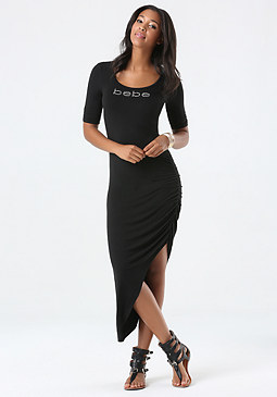 bebe Logo Solid High Leg Dress