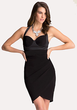 Petite Bustier Halter Dress at bebe