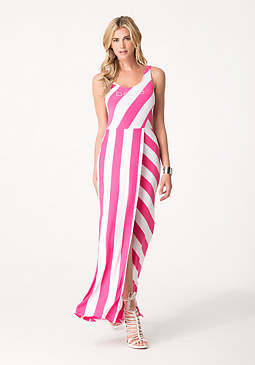 bebe Logo Striped Maxi Dress