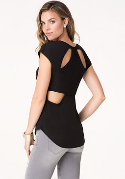 bebe Logo Cutout Back Top