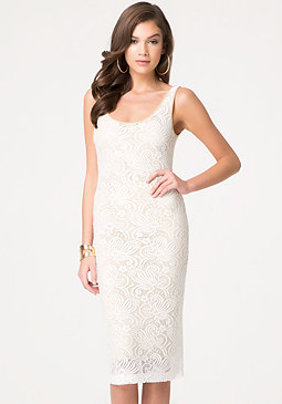 bebe Isa Lace Midi Dress