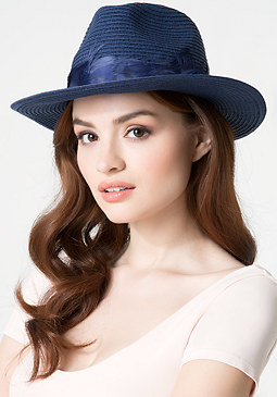 bebe Feathered Wide Brim Fedora