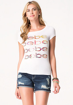 bebe Logo Jungle Repeat Tee