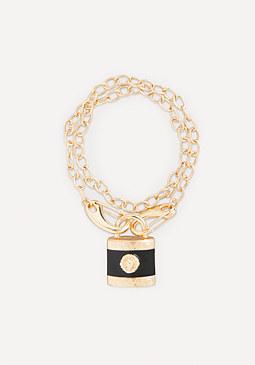 bebe Lion Padlock Bracelet