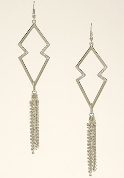 bebe Geo Cutout Fringe Earrings