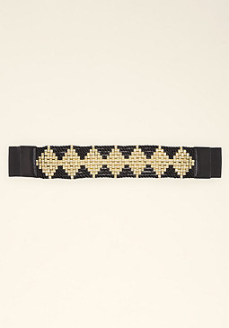 bebe Metal Diamond Stretch Belt