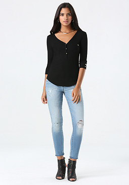 bebe Michelle Henley Top