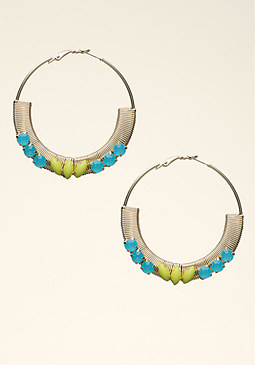 bebe Stone Coil Hoop Earrings