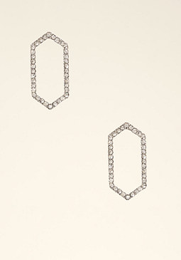 bebe Crystal Geo Cutout Earrings