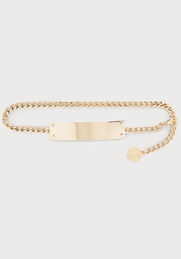 bebe Metal Plate Chain Belt