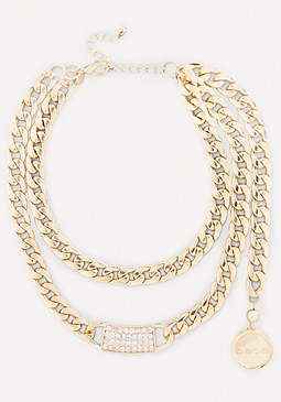 bebe Logo Crystal ID Necklace