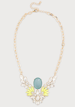 bebe Frosted Stone Bib Necklace