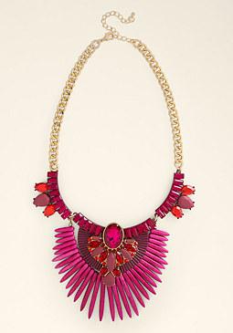 bebe Bold Color Tribal Necklace
