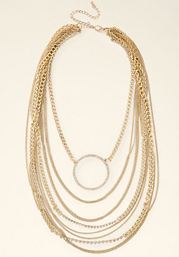 bebe Circle & Chains Necklace