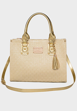 bebe Carrie Straw Tote