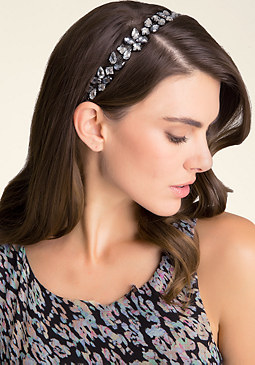 bebe Jeweled Ribbon Headband