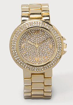 bebe Stone Encrusted Link Watch