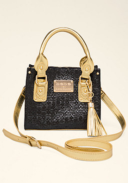 bebe Carrie Straw Crossbody Bag