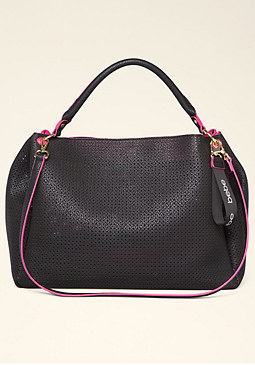 bebe Kenzie Perforated Satchel