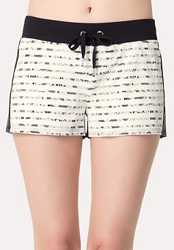 bebe Logo Striped Lace Shorts