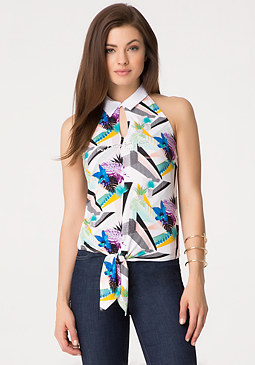 bebe Tie Front Collared Top