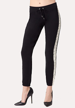 bebe Striped Lace Malibu Pants