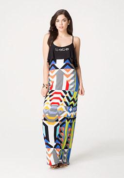 bebe Logo Flutter Maxi Dress