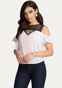 bebe Cold Shoulder Flutter Top
