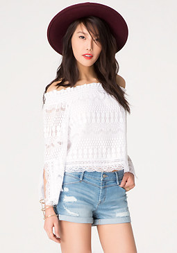 bebe Slit Sleeve Peasant Top