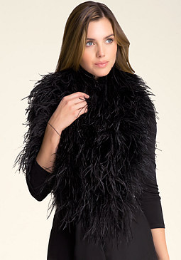 bebe Ostrich Feather Wrap