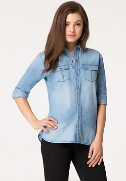 Washed Denim Shirt at bebe