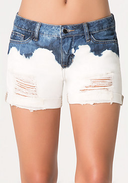 bebe 2 Tone Destroyed Shorts
