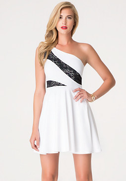 bebe One Shoulder Flare Dress