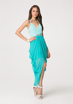 bebe 2-Tone Silk Halter Dress