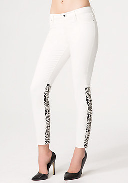 bebe White Embroidered Jeans