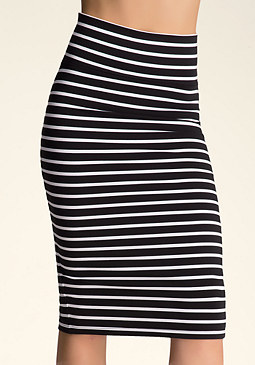 bebe Striped Midi Skirt