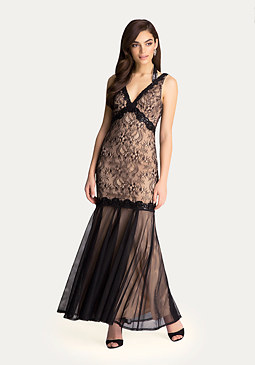 bebe Beaded Lace & Mesh Gown