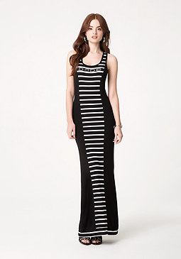 bebe Petite Striped Maxi Dress