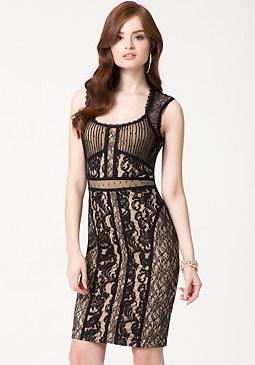 bebe Petite Mix Lace Midi Dress