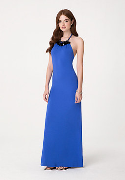 bebe Petite Halter Maxi Dress