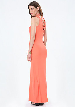 bebe Logo Lace Back Maxi Dress