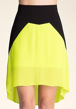 bebe Pleated Hi-Lo Skirt