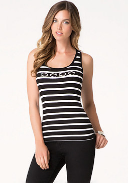 bebe Logo Striped Lace Back Top