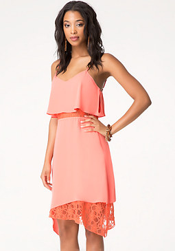 bebe Asymmetric Lace Dress